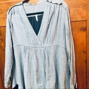 Free People Blue And White Striped Blouse